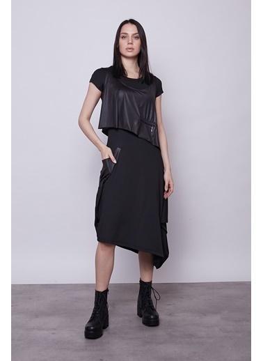 Jument Kadın Ikili Yelekli Asimetrik Kısa Kol Şık Elbise -Siyah Siyah